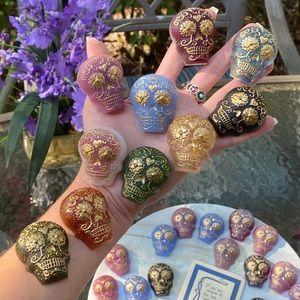 PACK OF 10 Magnets Sugar Skull Colorful Resin Art